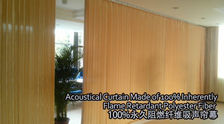 Acoustical Curtain Made of 100% Inherently Flame Retardant Polyester Fiber